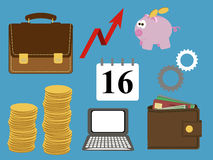 Buisness icons blue Royalty Free Stock Photos