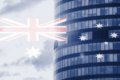 Buisness tower concept with blending  Australia flag Stock Photos