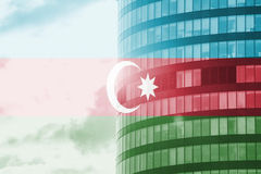 Buisness tower concept with blending  Azerbaijan flag Stock Photo