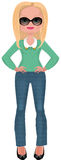 Buisness woman in fashionable clothes. Young Business woman in fashionable mint sweater and jeans, wearing ballet flats Stock Images