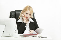 Buisness Woman working. Buisness Woman working in her office Stock Photo