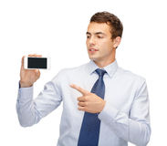 Buisnessman with blank screen smartphone Royalty Free Stock Image