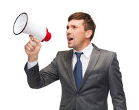Buisnessman with bullhorn or megaphone. Business, communication, hiring, searching, public announcement, office concept - buisnessman with bullhorn or megaphone Royalty Free Stock Photos