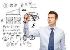 Buisnessman Drawing Plan On Virtual Screen Stock Photo