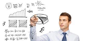 Buisnessman drawing plan on virtual screen Royalty Free Stock Photos