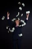 Buisnessman et chute vers le bas argent Photographie stock