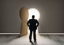 Buisnessman looking at keyhole shape door revealing light Royalty Free Stock Photos