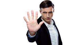 Buisnessman making stop gesture Royalty Free Stock Image