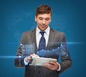 Buisnessman with tablet pc Stock Photography