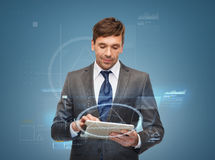 Buisnessman with tablet pc Royalty Free Stock Photos