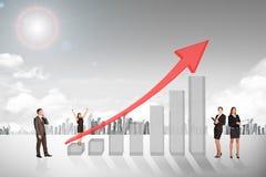 Buisnesspeople com gráfico do crescimento Imagem de Stock