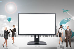 Buisnesspeople com o monitor da tela vazia Foto de Stock