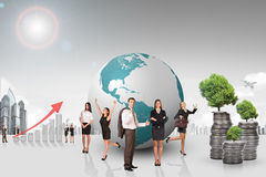 Buisnesspeople with growth graph and city Stock Photo