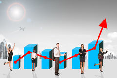 Buisnesspeople with growth graph Stock Images