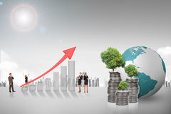 Buisnesspeople with growth graph and coins Royalty Free Stock Photos