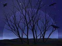 Buisson mort d'arbre par nuit - 3D rendent Images stock