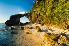Buissons normaux de marée élevée de plage de borne limite de passerelle Images libres de droits