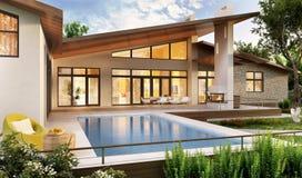 Buiten en binnenlands ontwerp van een modern huis met een pool stock afbeeldingen