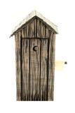 Buiten toilet met buitendocument Royalty-vrije Stock Afbeelding