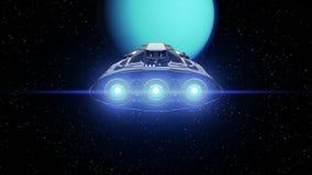Buitenaards ruimteschip op de achtergrond van Uranus stock footage
