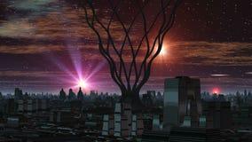 Buitenaards Schepsel en Vreemde Stad vector illustratie