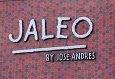 Buitenbeeld van Jaleo door resturant de winkel voorteken van Jose Andres stock afbeeldingen