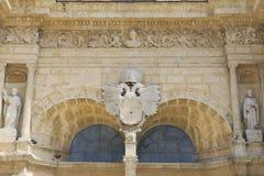 Buitendetail van de vooringang aan de Kathedraal van Santa Maria la Menor in Santo Domingo, Dominicaans aangaande Stock Fotografie