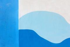 BuitendieMuur in Blauw wordt geschilderd en Wit Royalty-vrije Stock Afbeelding