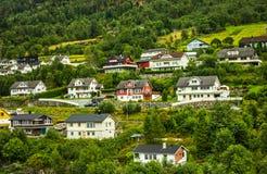 Buitenhuizen in Noorwegen Stock Fotografie