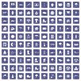 100 buitenhuispictogrammen geplaatst grunge saffier Stock Afbeelding