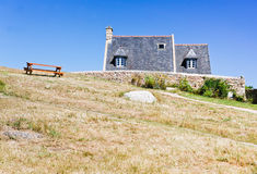 Buitenhuizen in Bretagne Stock Foto's