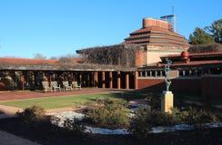 Buitenkant, Frank Lloyd Wright Building Wingspread, Racine Wisconsin royalty-vrije stock fotografie