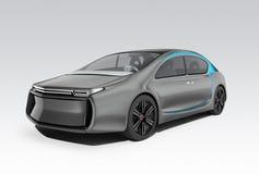 Buitenkant van autonome elektrische auto op grijze achtergrond royalty-vrije illustratie