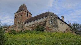 Buitenkant van Buzd Versterkte Kerk, Roemenië stock fotografie