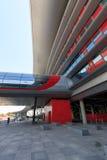 Buitenkant van de Ferrari-Wereld bij Yas-Eiland in Abu Dhabi, Verenigde Arabische Emiraten Stock Foto's