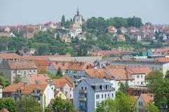 Buitenkant van de gebouwen van het historische deel van Meissen-stad, Duitsland Stock Afbeeldingen