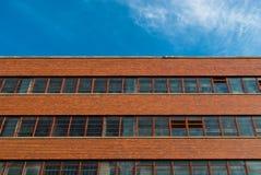 Buitenkant van de rode baksteenbouw Royalty-vrije Stock Afbeeldingen