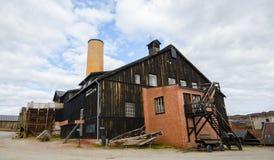 Buitenkant van de vroegere fabriek van de kopersmeltoven in Roros, Noorwegen Stock Afbeelding
