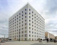 Buitenkant van futuristische Bibliotheek in wit Royalty-vrije Stock Fotografie