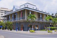 Buitenkant van het Blauwe gebouw van het Stuivermuseum in Haven Louis, Mauritius Stock Foto