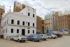 Buitenkant van het centrale vierkant van Shibam-stad in Shibam, Yemen Stock Foto