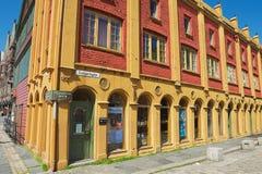 Buitenkant van het Hanseatic museum historische gebouw in Bergen, Noorwegen stock fotografie