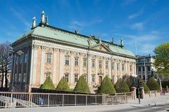 Buitenkant van het Huis van Adel en standbeeld van Gustaf Eriksson Vasa in Stockholm, Zweden Stock Foto