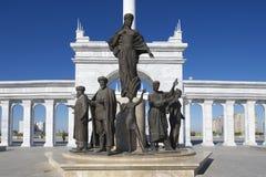 Buitenkant van het mooie Kazakh Eli-monument in Astana, Kazachstan royalty-vrije stock fotografie