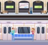 Buitenkant van ondergrondse post en binnenland binnen van metroauto vector illustratie