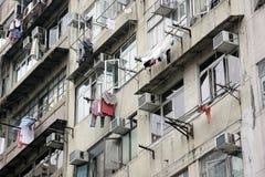 Buitenkant van oude Flat in Hongkong royalty-vrije stock foto