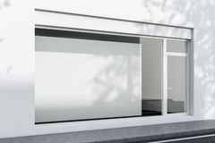 Buitenkant van wit bureau met affiche, zijaanzicht stock illustratie