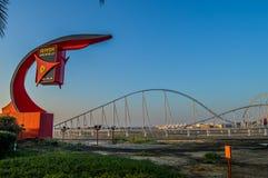 Buitenkanten van Ferrari-wereld, een pretpark in Abu Dhabi op Yas-Eiland stock afbeelding