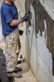 Buitenkelderverdiepingsmuur die 3 waterdicht maakt Royalty-vrije Stock Fotografie