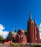 Buitenmening aan de Kathedraal van Roskilde in Denemarken stock foto's